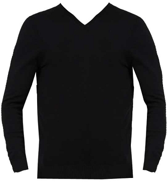 Fred Longworth Black V Neck Unisex Jumper - Sale