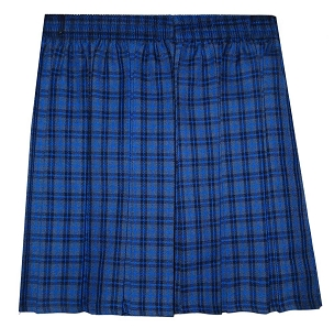 Meadowbank Elasticated Waist Box Pleat Blue Checked Skirt