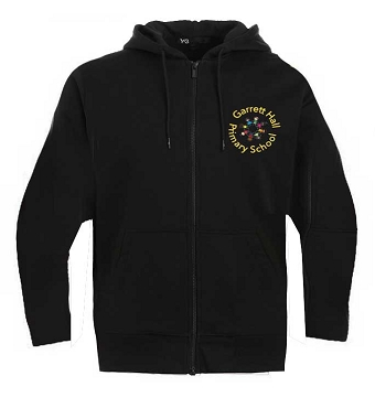 Garrett Hall School Black Zip Through Sports Hoodie