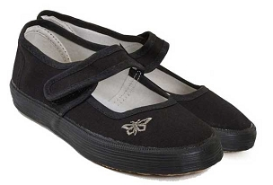 Girls Pretty Butterfly Trim Velcro Black P.E. Pumps -from £5.00