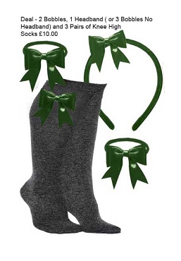 DEAL - 3 Pairs of  Grey Knee High Bow Trim Socks,  2 Bow Trim Hair Bobbles, 1 Bow Trim Headband -Green Bows