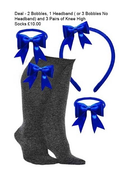 DEAL - 3 Pairs of Grey Knee High Bow Trim Socks,  2 Bow Trim Hair Bobbles, 1 Bow Trim Headband - Royal Blue Bows