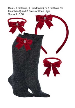 DEAL - 3 Pairs of Grey Knee High Bow Trim Socks,  2 Bow Trim Hair Bobbles, 1 Bow Trim Headband - Burgundy Bows
