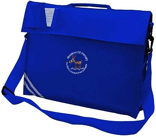 Hindsford C of E Primary School Large Blue Book Bag with Strap