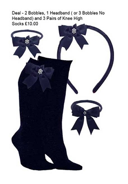 DEAL - 3 Pairs of Navy Blue Knee High Bow Trim Socks,  2 Bow Trim Hair Bobbles, 1 Bow Trim Headband - Blue Bows