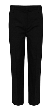 Regular Fit Half Elasticated Boys Black School Trousers