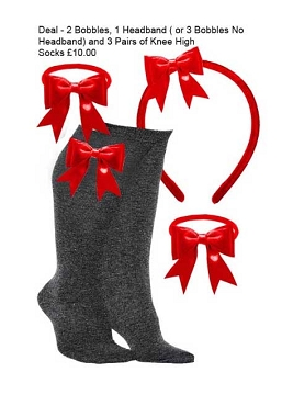 DEAL - 3 Pairs of Grey  Knee High Bow Trim Socks,  2 Bow Trim Hair Bobbles, 1 Bow Trim Headband -Red Bows