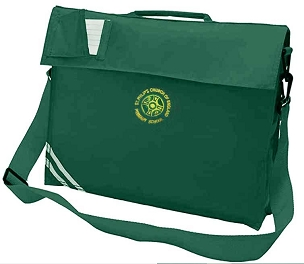 St Philips C of E Large Green Book Bag with Strap