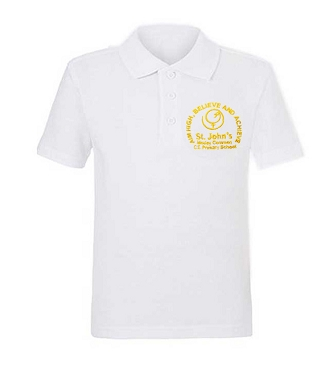 St Johns Mosley Common Primary School Unisex White Polo Shirt