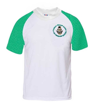 Tyldesley Primary School Green and White P.E. Top - with free initials