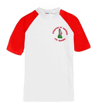 Atherton St Georges Red and White P.E. Top - with free initials