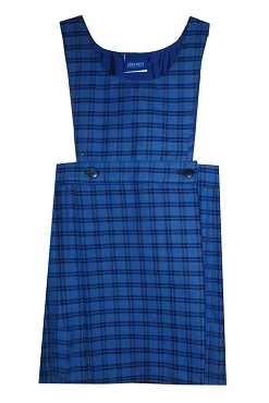 Meadowbank Half Pleated Blue Checked Pinafore