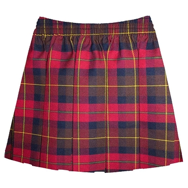 Elasticated Waist Box Pleated Tartan Checked Skirt