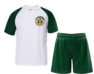 St Ambrose Barlow Green and White Full P.E Set - with free initials